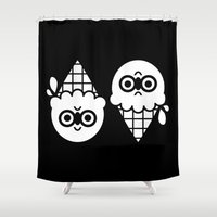 robin hood Shower Curtains featuring Robin Hood / Ice Cream by The Pairabirds