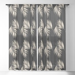 Palm Leaves Pattern #13 #Gold Touch #Black #decor #art #society6 Sheer Curtain
