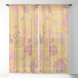 Paradise Patterns - Yellow & Coral Sheer Curtain