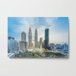 Petronas Towers at Sunset, Kuala Lumpur, Malaysia Metal Print