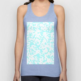 Spots - White and Celeste Cyan Unisex Tank Top