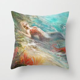 Mermaid sunbathing on the beach fantasy Throw Pillow