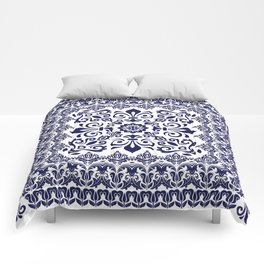 Oriental Damask blue on white Comforters