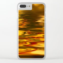bstract image of light reflected on gold color water Clear iPhone Case
