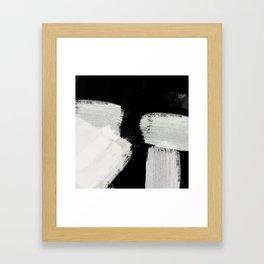 brush stroke black white painted Framed Art Print