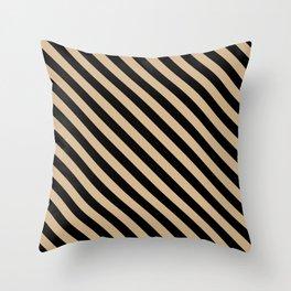 Tan Brown and Black Diagonal LTR Stripes Throw Pillow