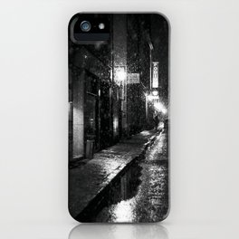 Nightlife district with snowfall № V iPhone Case