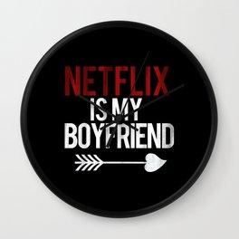 Netflix is my Boyfriend Vintage Cupid Black Print Wall Clock