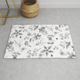 Hummingbirds and Flowers Rug