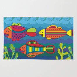 Stylize fantasy fishes under water. Rug