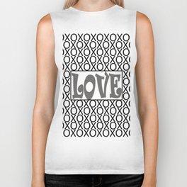 Pantone Pewter LOVE XOs (Hugs and Kisses) Typography Art Biker Tank