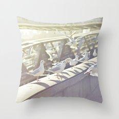 Birds playing on sunshine Throw Pillow
