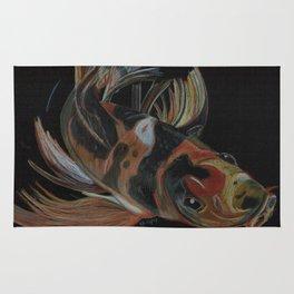Koi fish on black Rug