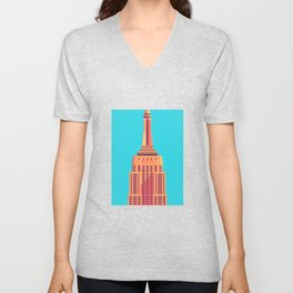 Empire State Building New York Art Deco - Cyan Unisex V-Neck
