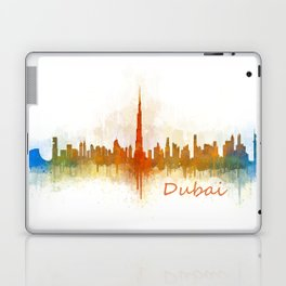 Dubai, emirates, City Cityscape Skyline watercolor art v3 Laptop & iPad Skin