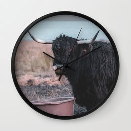 Vintage photography - Highland Cow, Thurso, Scotland Wall Clock