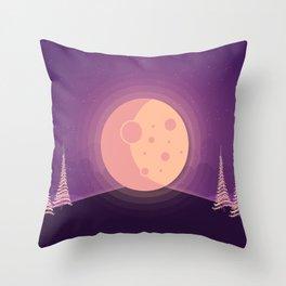 Night time full moon Throw Pillow