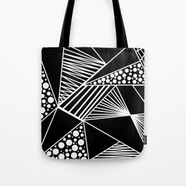 Black white geometric trendy artistic stripes polka dots Tote Bag