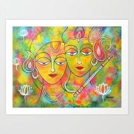 Radha Krishna Holi Abstract Art Print