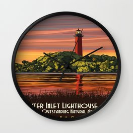 Vintage poster - Jupiter Inlet Lighthouse Wall Clock