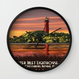 Vintage poster - Jupiter Inlet Lighthouse Wall Clock
