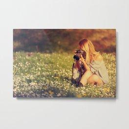 A beautiful young lady photographer Metal Print