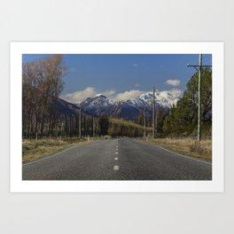 Where the Mountains meet the Road - Wanaka, New Zealand Art Print