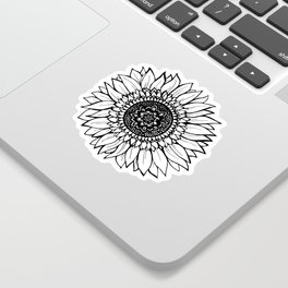 B&W Sunflower Sticker
