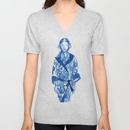 Samurai casual -blue ink woman fashion illustration Unisex V-Neck