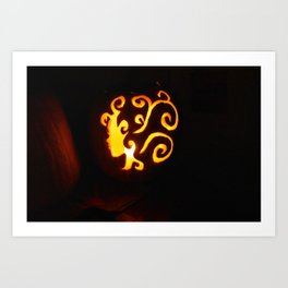 Pretty Lady Carved Pumpkin Art Print