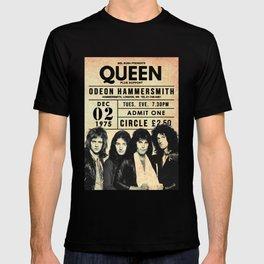 Poster rock QUEEN CONCERT ODEON HAMMERSMITH 1975 T-shirt