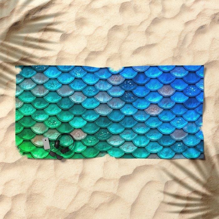 Aqua Teal & Green Shiny Mermaid Glitter Scales Beach Towel