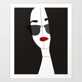 Black self portrait Art Print