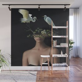 Lady with Birds 3 Wall Mural