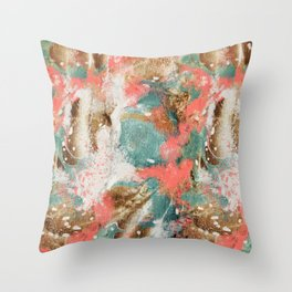Modern Abstract Painting. Living Coral Pantone 2019 Throw Pillow