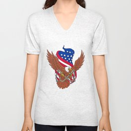 American Eagle Wings USA Flag Drawing Unisex V-Neck
