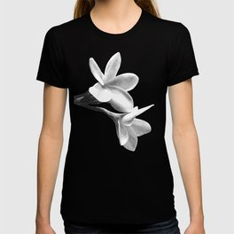 White Flowers Black Background T-shirt