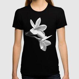 White Flowers Black Background T-Shirt