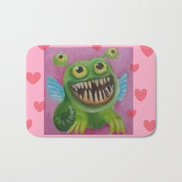 Be my Valentine! Funny Baby Dragon with hearts and quote Bath Mat