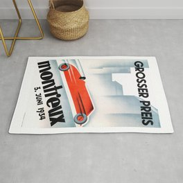 1934 Switzerland Montreux Grand Prix Racing Poster Rug
