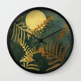 Golden Cycas leaves on dark green canvas Wall Clock