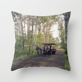 Raid Canada: Deux Chevaux at Fort William Throw Pillow