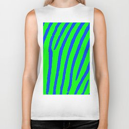 Zebra Print (Green & Blue) Biker Tank