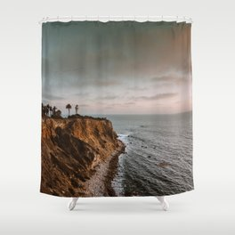 California Lighthouse Sunset Shower Curtain