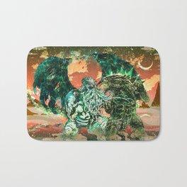 Cthulhu vs Godzilla Bath Mat