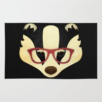 badger Area & Throw Rugs featuring Hipster Badger by Compassion Collective