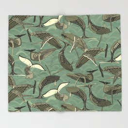 whales and waves aqua Throw Blanket