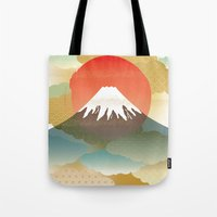 japan Tote Bags featuring JAPAN by rie_lalala