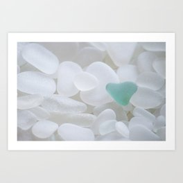Japanese Teal Sea Glass Heart Art Print