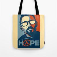 half life Tote Bags featuring Half Life Hope by The Strynx